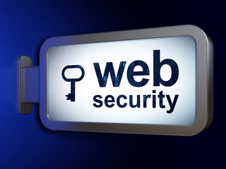 Privacy concept: Web Security and Key on advertising billboard background, 3D rendering