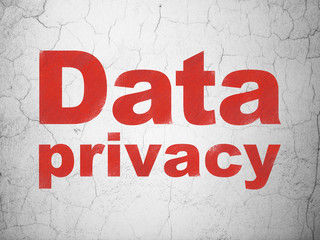 Privacy concept: Red Data Privacy on textured concrete wall background