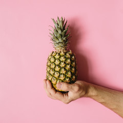 Man hand holding ripe pineapple on faded rosy background isolated. Minimalist style trendy tropical food concept.