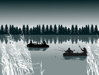 two boats with fishemen silhouettes dark illustration
