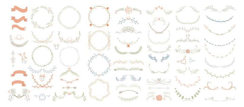 Beautiful monogram set with floral elements