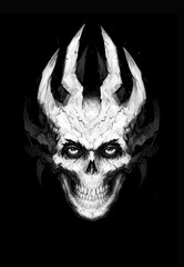 Illustration of white toothy skull with horns. Image is isolated on a black background. Cover for the album, book and site. Devil's image. Illusion for the poster. Sketch, 2D digital painting.