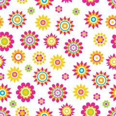 Vector Seamless Pattern Springtime Flowers Cartoon