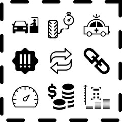 Simple 9 icon set of finance related transfer, profits, money and paying car ticket vector icons. Collection Illustration
