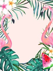 Summer frame with tropical jungle leaves and pink flamingo.Vector aloha illustration. Watercolor style