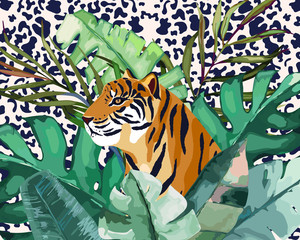 Summer frame with tropical jungle leaves and tiger.Vector aloha illustration. Watercolor style