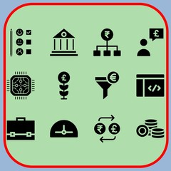 Simple 12 icon set of business related protractor, exchange, briefcase and rating vector icons. Collection Illustration