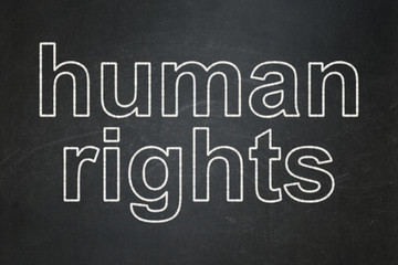 Political concept: text Human Rights on Black chalkboard background