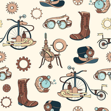 Seamless pattern with steampunk attributes and apparel hand drawn on light background