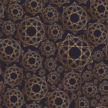 Abstract seamless pattern with geometric shapes drawn with golden contour lines on black background