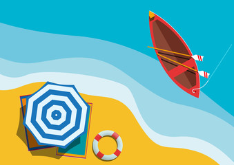 Vector Summer Background with boat and beach on island