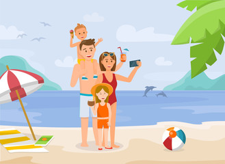 Family Vacation on Beach. Vector Illustration.