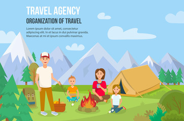Family Camping Outdoors. Vector Illustration.