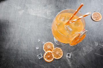 Glass of aperol soda cocktail