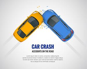 Obraz Car crash, car accident top view isolated on a light background. Car crash emergency disaster. Flat vector illustration. - fototapety do salonu