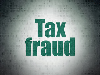 Law concept: Painted green word Tax Fraud on Digital Data Paper background