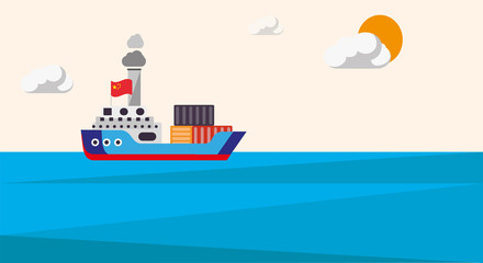 Cargo container ship transports containers at the blue ocean.  Transportation from China. Illustration in a flat style. Vector graphics