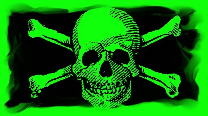 Skull and Crossbones on a Chroma Key Green Screen Background