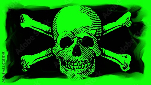 skull and crossbones on a chroma key green screen background stock