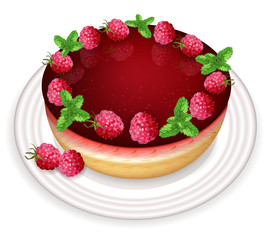 Raspberry cake Vector realistic. Sweet tasty dessert. Menu templates