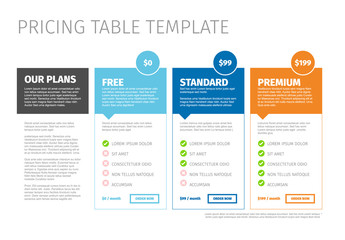 Minimalist pricing table template