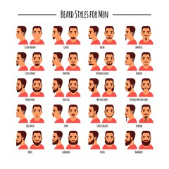 Beard styles for men icon set, vector illustration