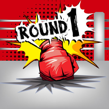 Punch boxing comic style and red corner with round:1