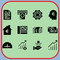 Simple 12 icon set of business related file, power, profits and target vector icons. Collection Illustration