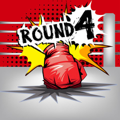 Punch boxing comic style and red corner with round:4