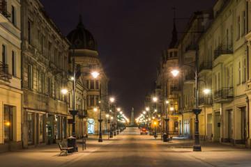 Piotrkowska street at night in Lodz city, Lodzkie, Poland