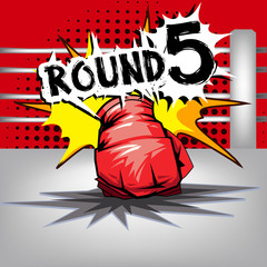 Punch boxing comic style and red corner with round:5