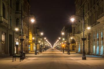 Obraz Piotrkowska street at night in Lodz city, Lodzkie, Poland - fototapety do salonu