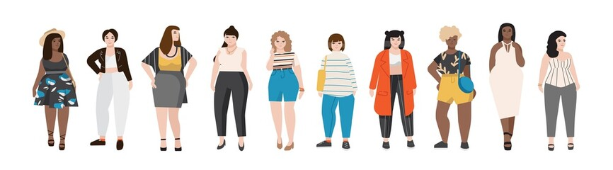 Wall Mural - Collection of plus size women dressed in stylish clothing. Set of curvy girls wearing trendy clothes. Female cartoon characters isolated on white background. Colored vector illustration in flat style.