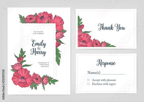 bundle of elegant templates for wedding invitation response card and thank you note with pink
