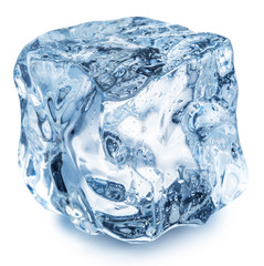 Ice cube with water drops. Clipping path.