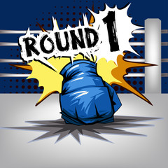 Punch boxing comic style and Blue corner with round:1