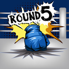 Punch boxing comic style and Blue corner with round:5
