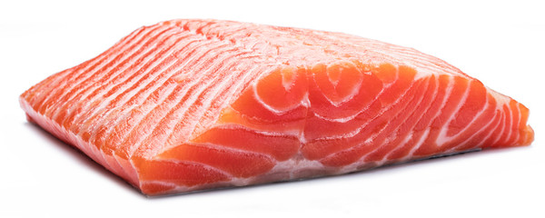Fresh raw salmon fillet on white background.