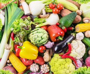 Different organic vegetables. Multicolored food background.