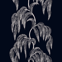 Vector seamless border with stylized tree branches for season design.