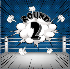 boxing ring corner with comic style blue Round2