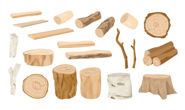 Collection of wooden logs, tree branches, lumbers, timber sawn into rough planks isolated on white background. Set of lumber and industrial wood. Colorful vector illustration in realistic style.