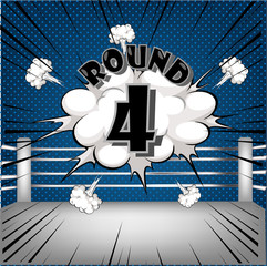 boxing ring corner with comic style blue Round4