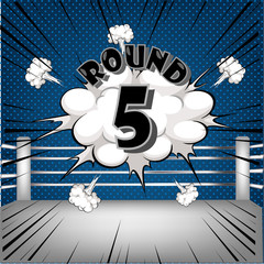 boxing ring corner with comic style blue Round5