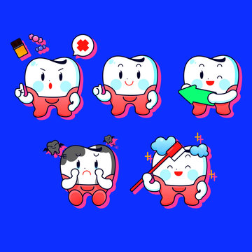 Teeth care and hygiene concept character