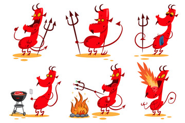 Devil cartoon character set. Funny demon with horns, tail and trident. Сute red monster in different poses. Vector illustration isolated on white background.