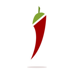 Chili pepper flat vector icon isolated on a white background.