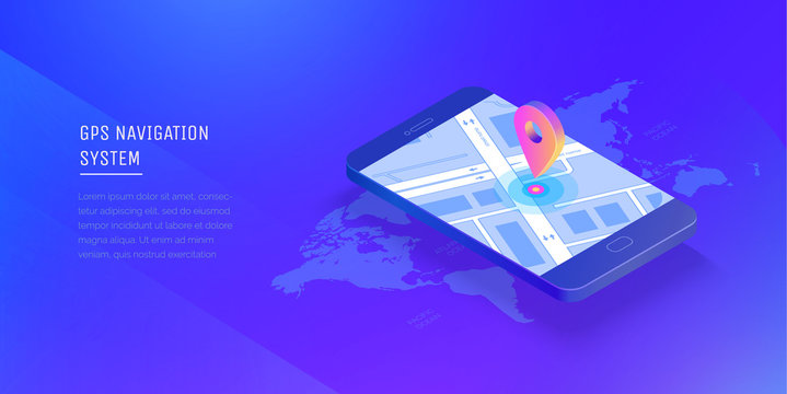 Gps navigation system. Mobile application for navigation. Gps smart tracker. Mobile phone is a mark on the map. Modern vector illustration isometric style.