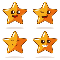 Cute cartoon star with different emotions vector icons set. Illustration of a funny character isolated on white background. Kawaii face emotions.