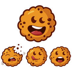 Cute cartoon cookies with different emotions vector icons set. Illustration of a funny biscuit character with chocolate isolated on white background.